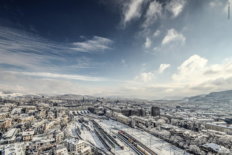 Bern main station in winter