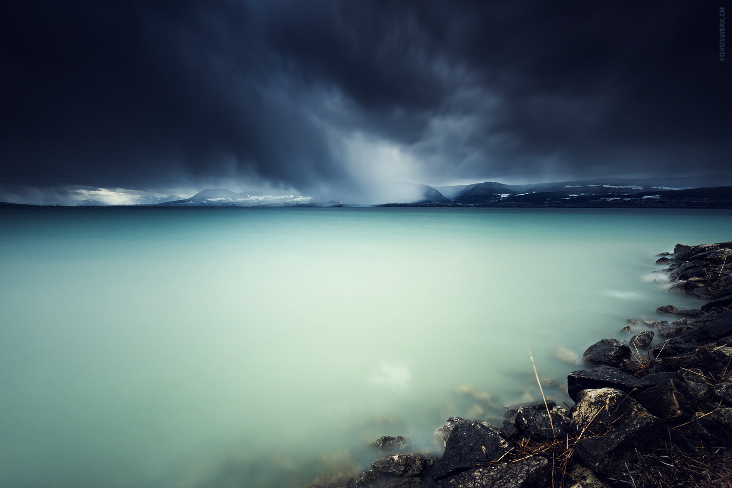 Dark snow clouds, lake Neuchâtel, Switzerland
