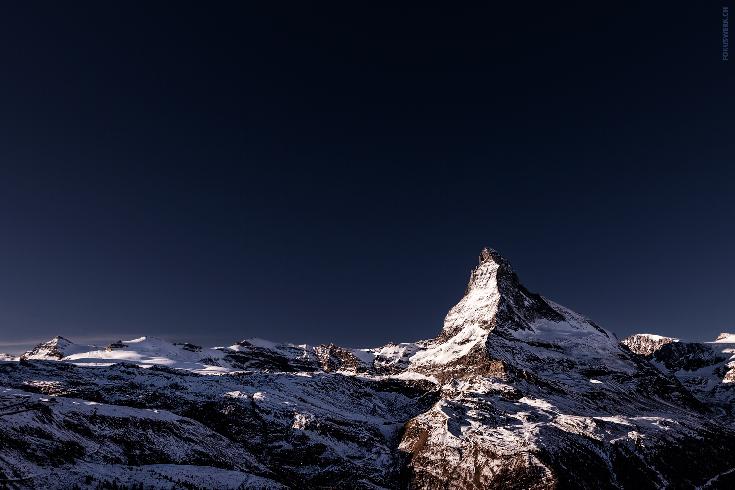 Dark blue sky over the Matterhorn