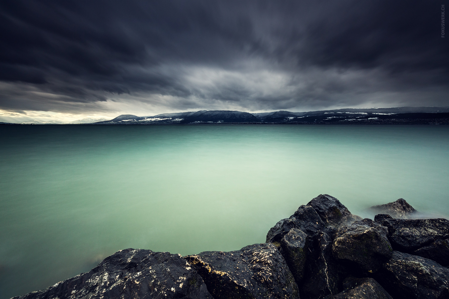 Stormy winter day in Portalban at the lake Neuchâtel, Switzerland