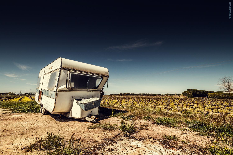 Abandoned caravan in Camargue